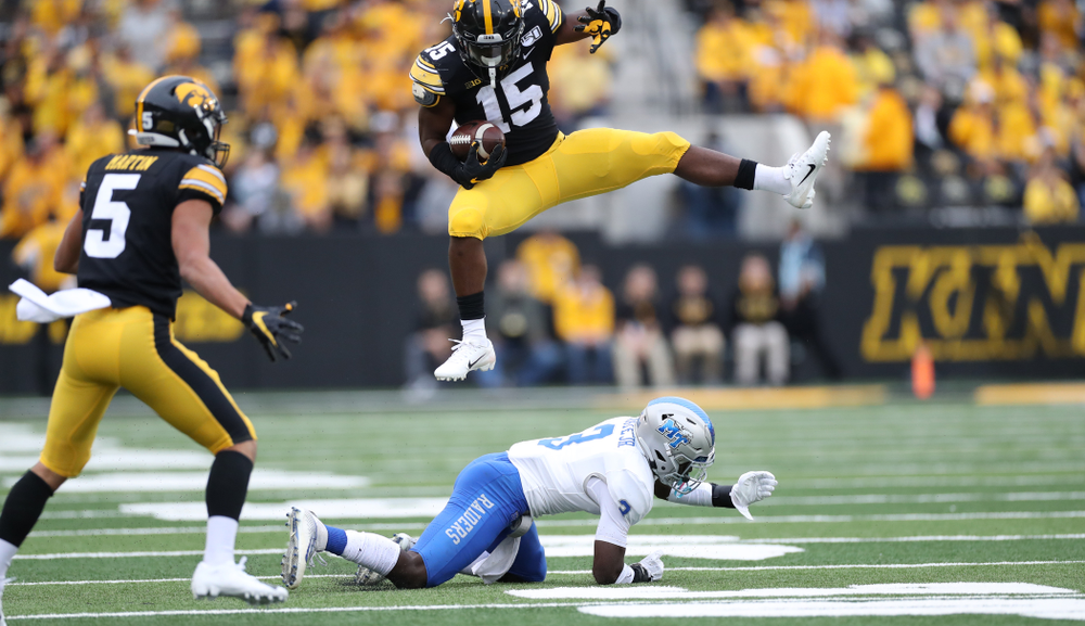Iowa Hawkeyes running back Tyler Goodson (15) against Middle Tennessee State Saturday, September 28, 2019 at Kinnick Stadium. (Max Allen/hawkeyesports.com)