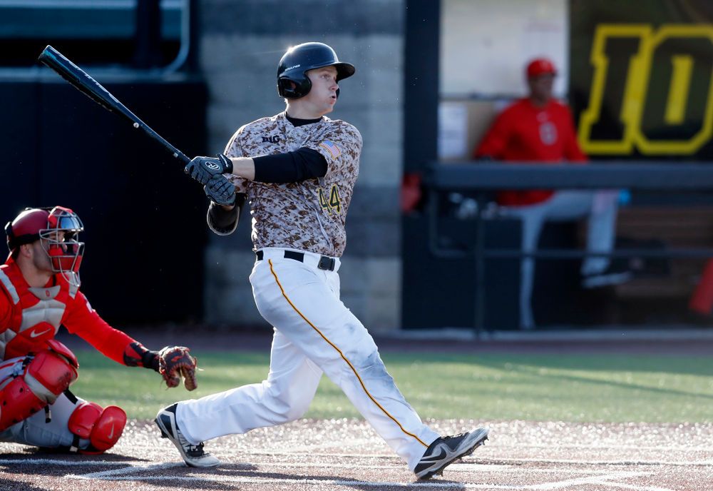 Iowa Hawkeyes outfielder Robert Neustrom (44) against the Ohio State Buckeyes Saturday, April 7, 2018 at Duane Banks Field. (Brian Ray/hawkeyesports.com)