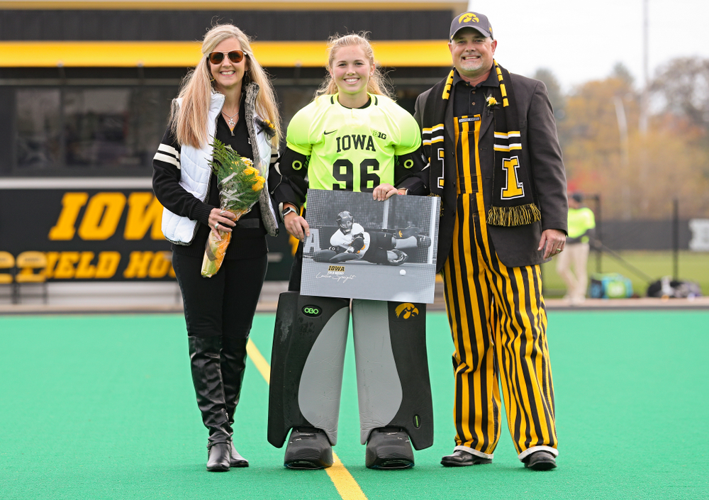 Iowa's Leslie Speight (96) in honored with her parents on Senior Day before their game at Grant Field in Iowa City on Saturday, Oct 26, 2019. (Stephen Mally/hawkeyesports.com)