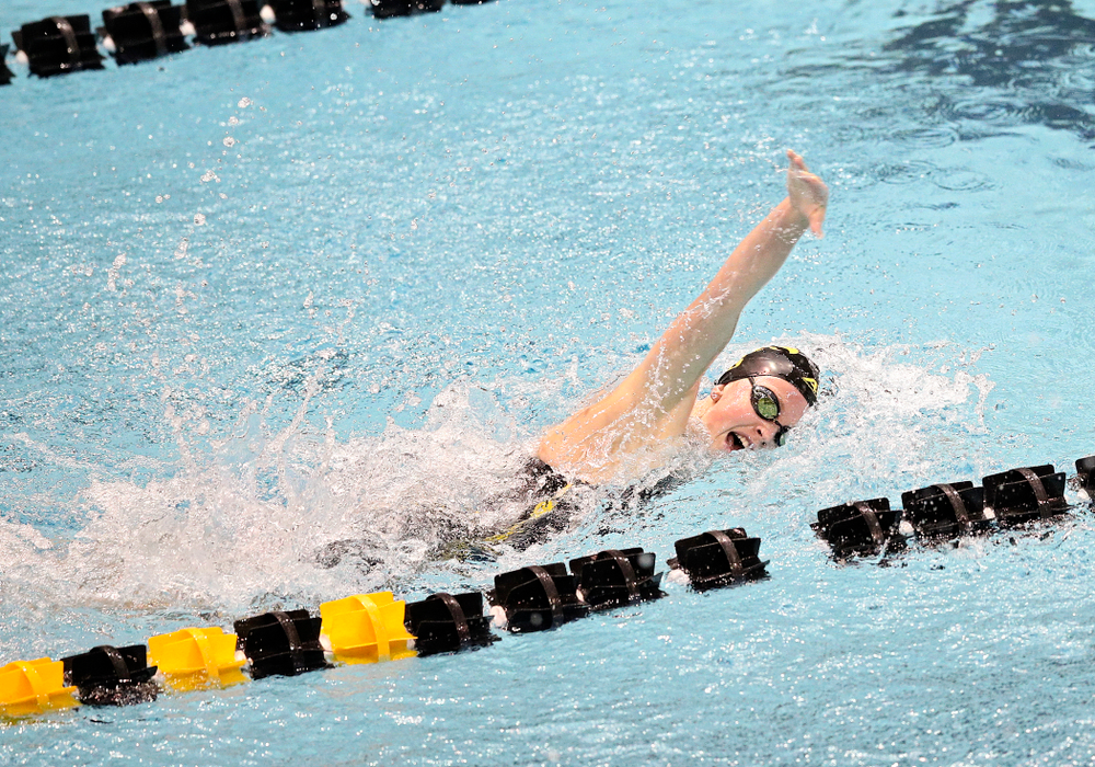 Iowa's Ariel Wooden swims the women's 100 yard freestyle event during their meet at the Campus Recreation and Wellness Center in Iowa City on Friday, February 7, 2020. (Stephen Mally/hawkeyesports.com)