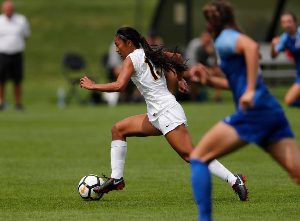 Iowa Hawkeyes Bianca Acuario (13) against the Creighton Bluejays  Sunday, August 19, 2018 at the Iowa Soccer Complex. (Brian Ray/hawkeyesports.com)