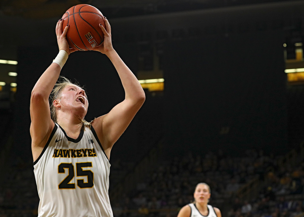Iowa Hawkeyes forward Monika Czinano (25) scores a basket during the second quarter of their game at Carver-Hawkeye Arena in Iowa City on Saturday, December 21, 2019. (Stephen Mally/hawkeyesports.com)