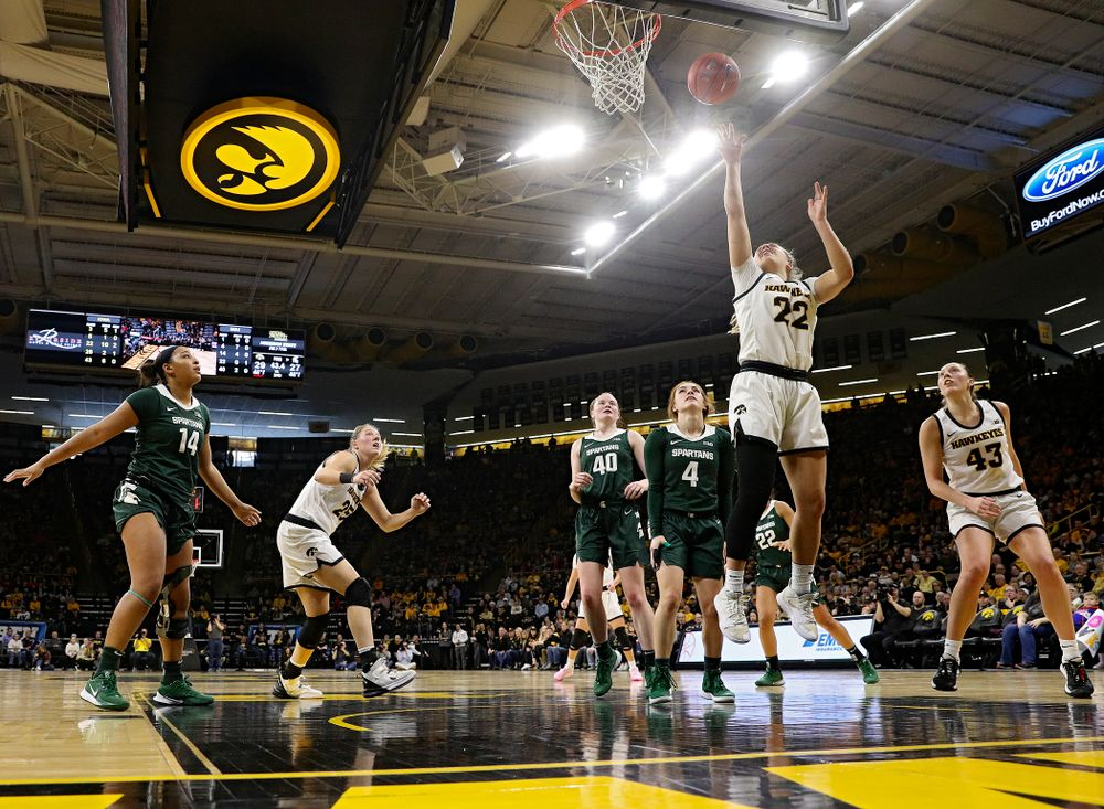 Iowa Hawkeyes guard Kathleen Doyle (22) scores a basket during the second quarter of their game at Carver-Hawkeye Arena in Iowa City on Sunday, January 26, 2020. (Stephen Mally/hawkeyesports.com)