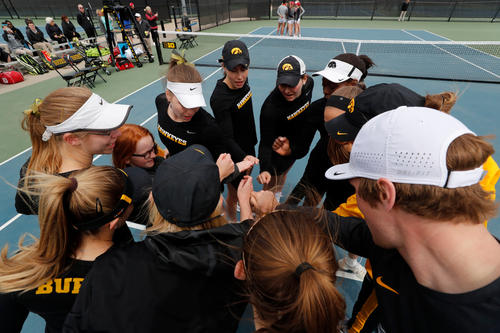 The Iowa Hawkeyes before their match against the Wisconsin Badgers Sunday, April 22, 2018 at the Hawkeye Tennis and Recreation Center. (Brian Ray/hawkeyesports.com)