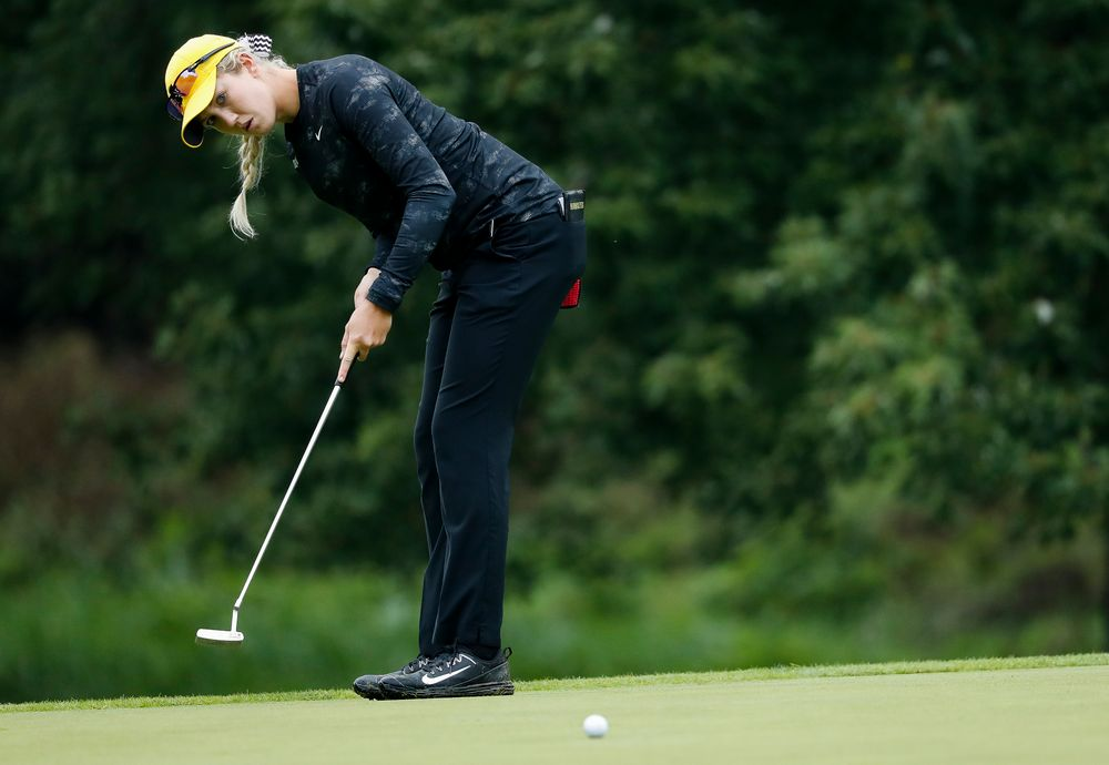 Iowa's Shawn Rennegarbe putts during the final round of the Diane Thomason Invitational at Finkbine Golf Course on September 30, 2018. (Tork Mason/hawkeyesports.com)