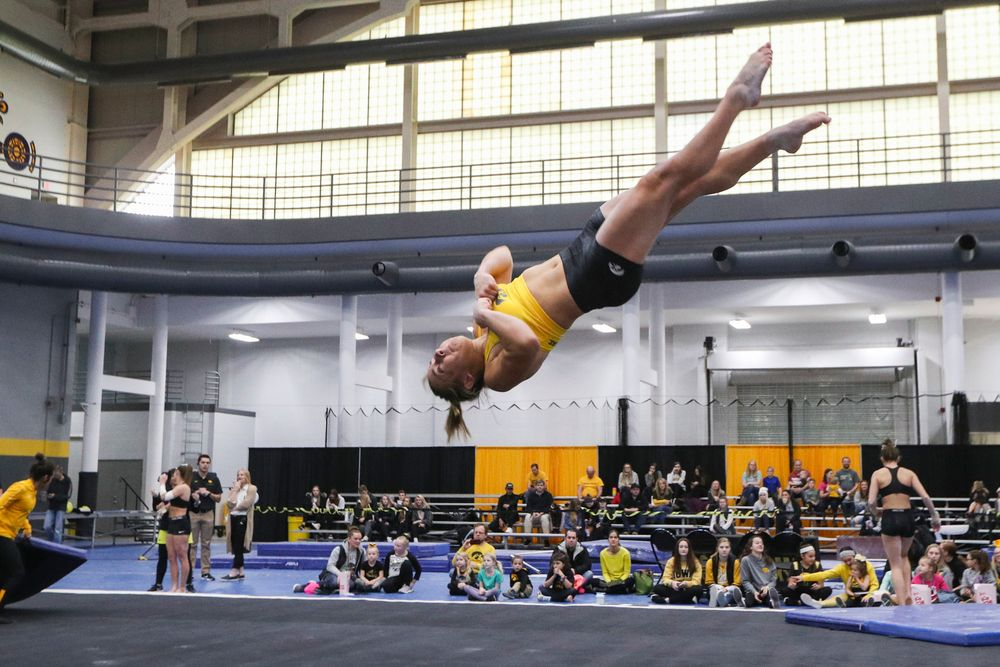 Alex Greenwald performs a floor routine during the Iowa women's gymnastics Black and Gold Intraquad Meet on Saturday, December 7, 2019 at the UI Field House. (Lily Smith/hawkeyesports.com)