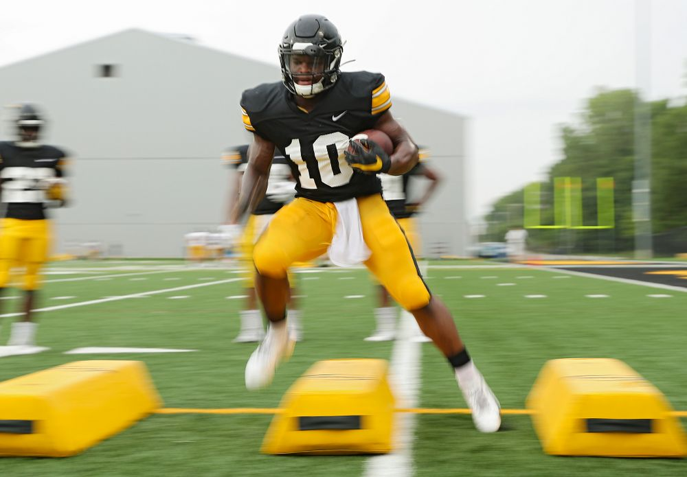 Iowa Hawkeyes running back Mekhi Sargent (10) runs a drill durning Fall Camp Practice No. 17 at the Hansen Football Performance Center in Iowa City on Wednesday, Aug 21, 2019. (Stephen Mally/hawkeyesports.com)