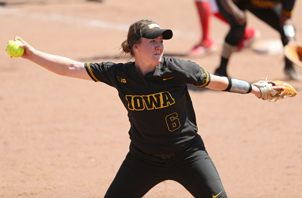 Iowa pitcher Erin Riding (6) delivers to the plate during the fifth inning of their game against Ohio State at Pearl Field in Iowa City on Saturday, May. 4, 2019. (Stephen Mally/hawkeyesports.com)