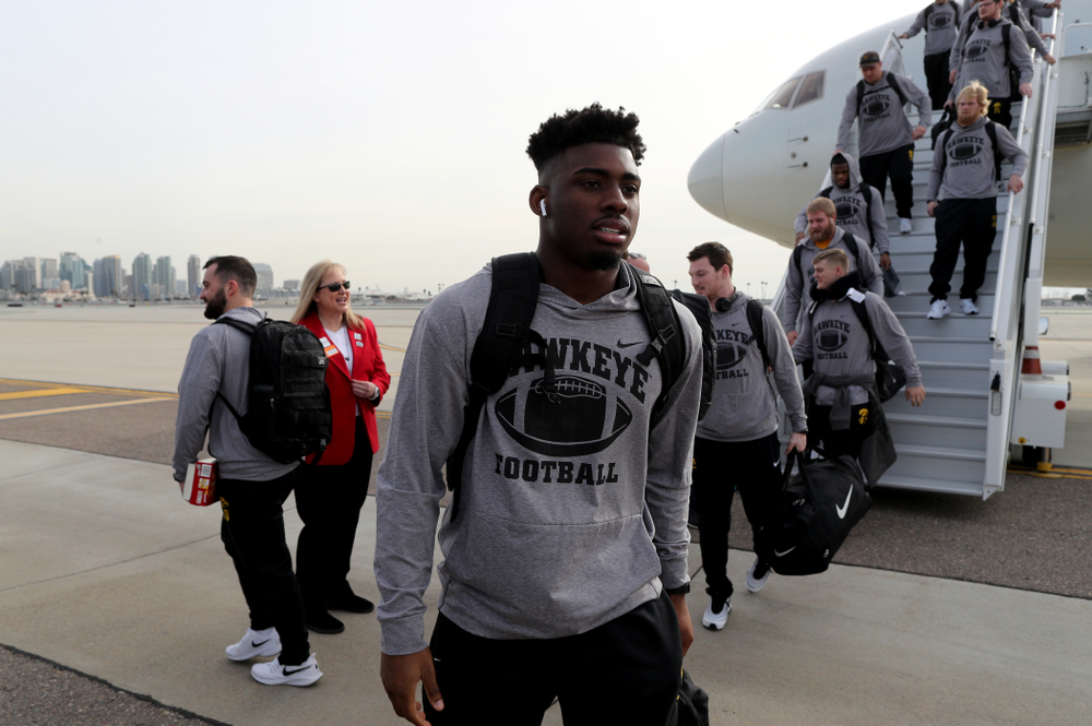 Iowa Hawkeyes running back Tyler Goodson (15) after arriving in San Diego, CA Saturday, December 21, 2019 for the Holiday Bowl. (Brian Ray/hawkeyesports.com)
