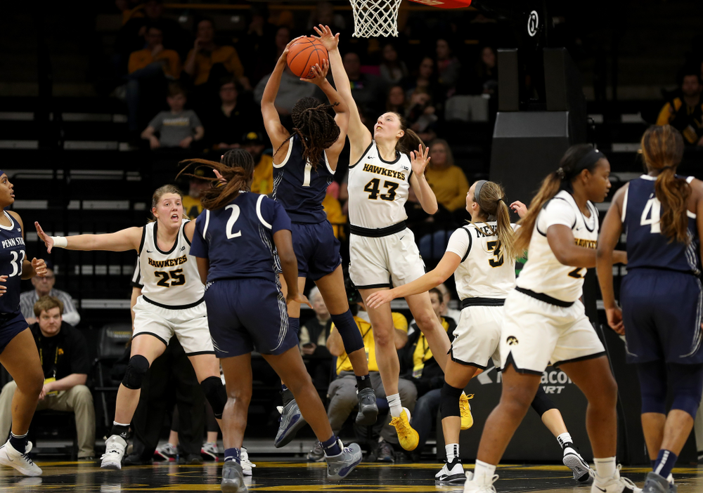 Iowa Hawkeyes forward Amanda Ollinger (43) blocks a shot against Penn State Saturday, February 22, 2020 at Carver-Hawkeye Arena. (Brian Ray/hawkeyesports.com)