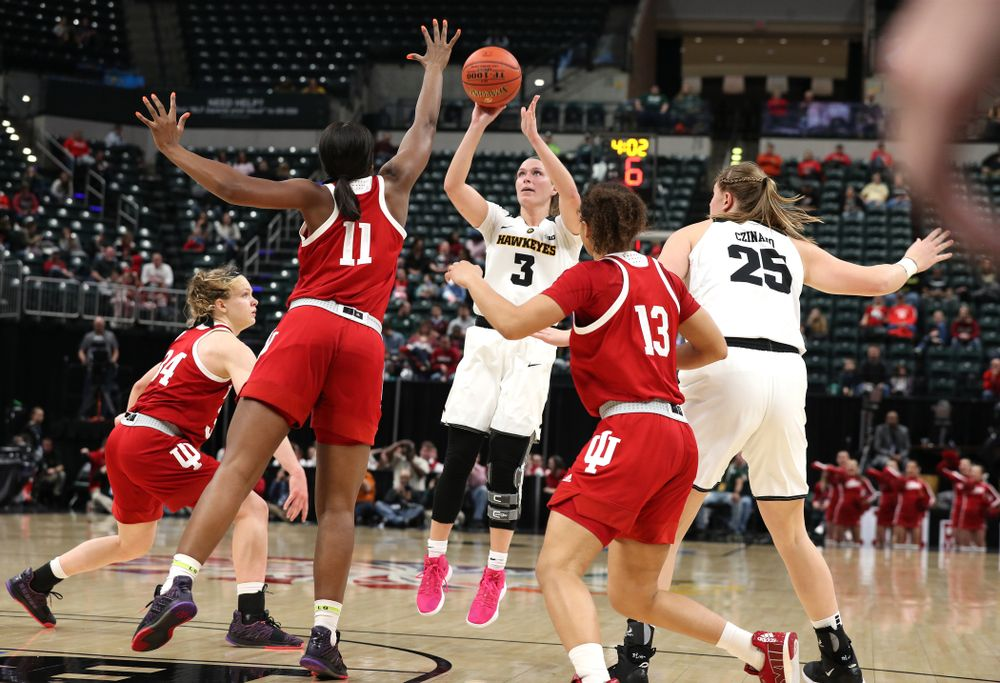 Iowa Hawkeyes guard Makenzie Meyer (3) against the Indiana Hoosiers in the quarterfinals of the Big Ten Tournament Friday, March 8, 2019 at Bankers Life Fieldhouse in Indianapolis, Ind. (Brian Ray/hawkeyesports.com)