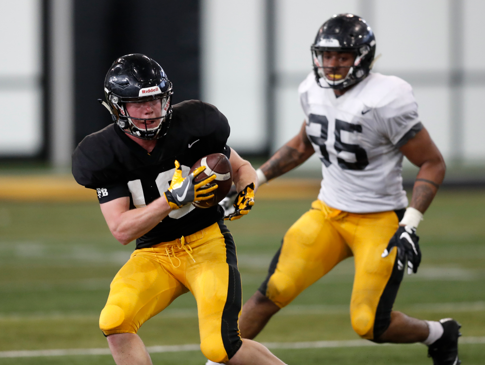 Iowa Hawkeyes wide receiver Max Cooper (19) during spring practice Wednesday, March 28, 2018 at the Hansen Football Performance Center.  (Brian Ray/hawkeyesports.com)