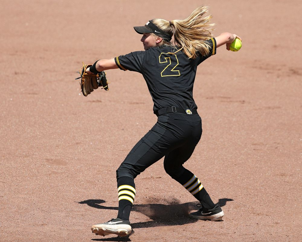 Iowa second baseman Aralee Bogar (2) throws home during the first inning of their game against Ohio State at Pearl Field in Iowa City on Saturday, May. 4, 2019. (Stephen Mally/hawkeyesports.com)