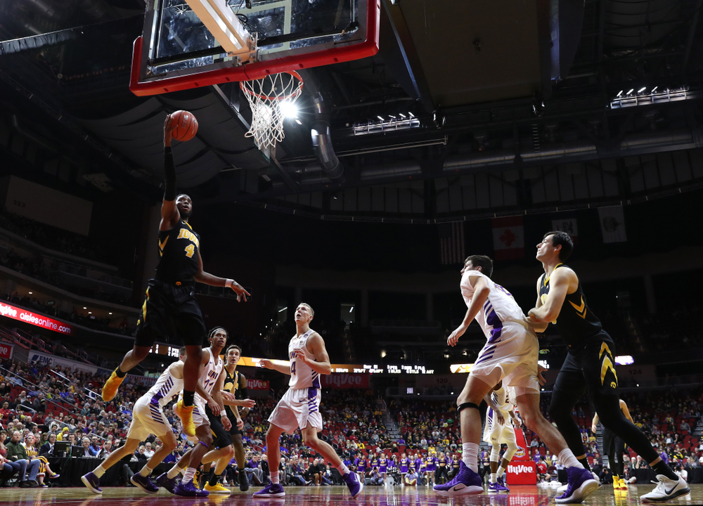 Iowa Hawkeyes guard Isaiah Moss (4) against the Northern Iowa Panthers in the Hy-Vee Classic Saturday, December 15, 2018 at Wells Fargo Arena in Des Moines. (Brian Ray/hawkeyesports.com)