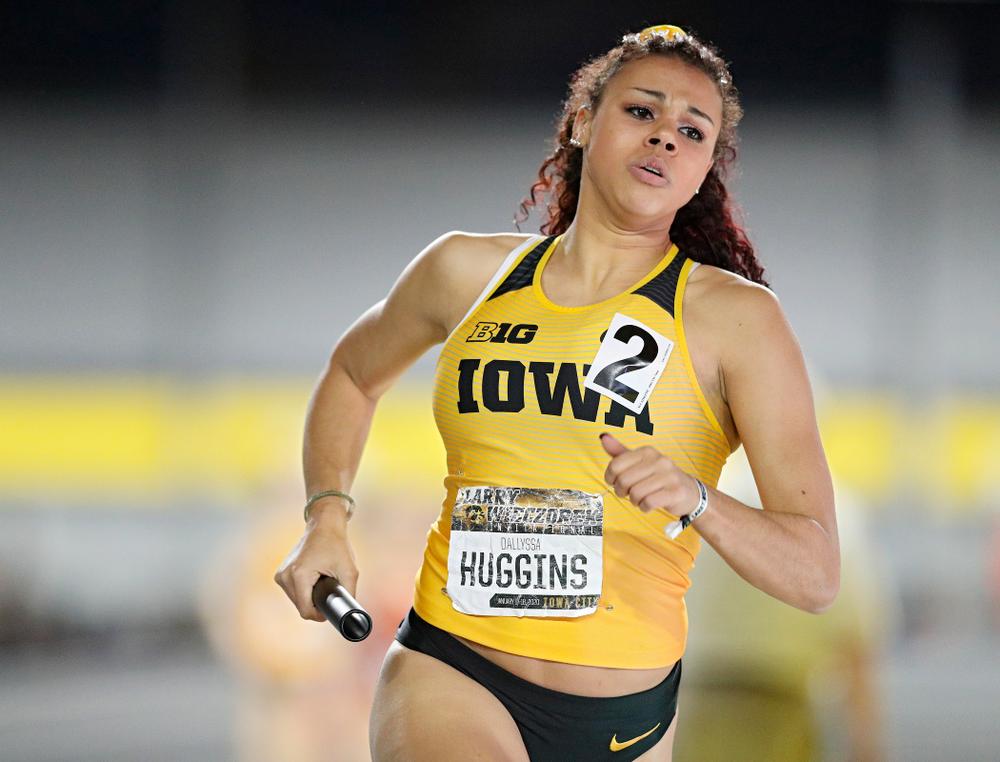 Iowa's Dallyssa Huggins runs the women's 1600 meter relay event during the Larry Wieczorek Invitational at the Recreation Building in Iowa City on Saturday, January 18, 2020. (Stephen Mally/hawkeyesports.com)