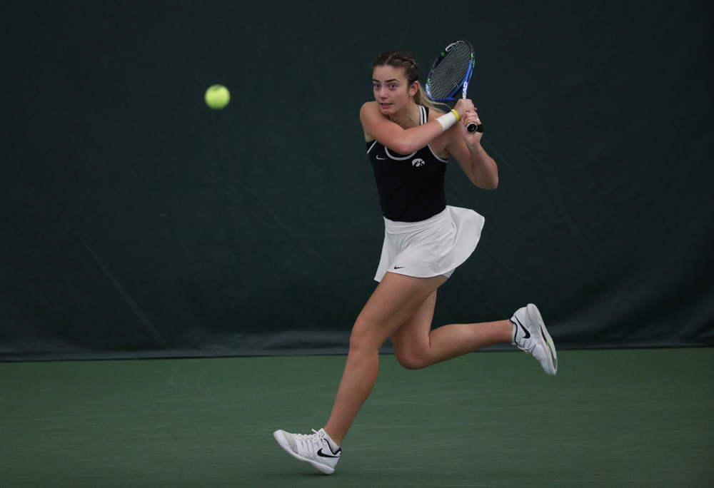Iowa's Adorabol Huckleby during a doubles match against North Texas Sunday, January 20, 2019 at the Hawkeye Tennis and Recreation Center. (Brian Ray/hawkeyesports.com)