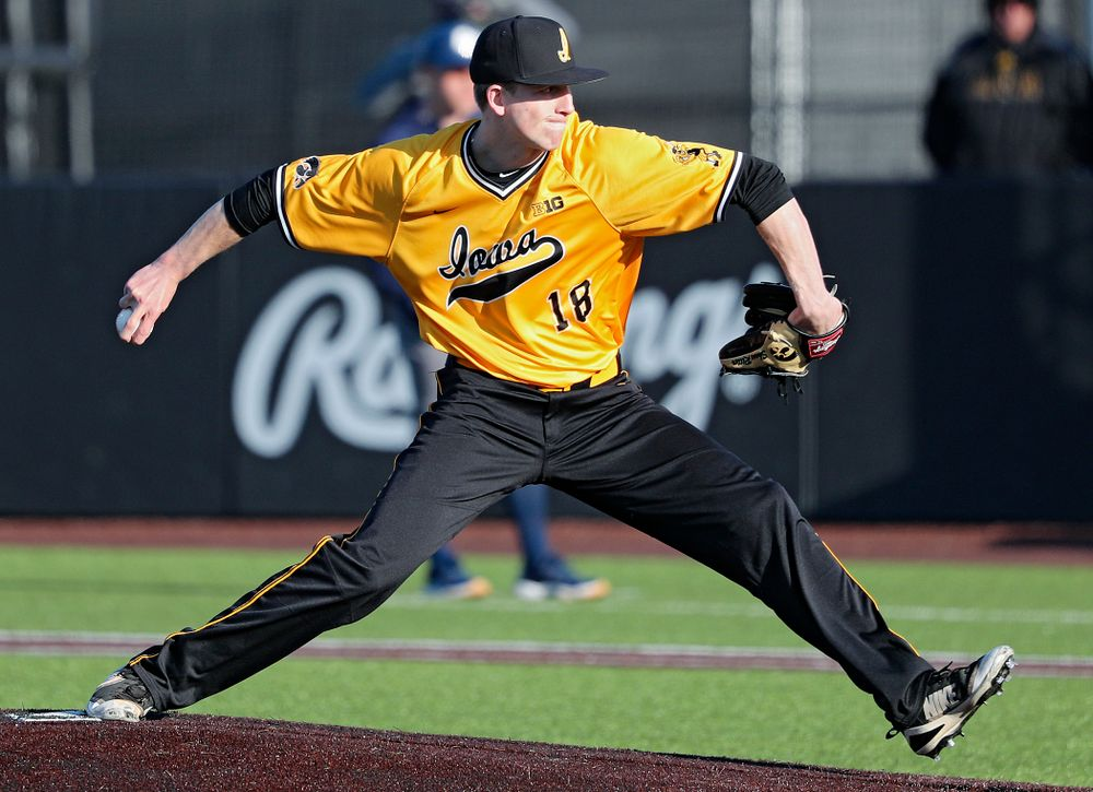 Iowa Hawkeyes pitcher Shane Ritter (18) delivers to the plate during the sixth inning of their game at Duane Banks Field in Iowa City on Tuesday, Apr. 2, 2019. (Stephen Mally/hawkeyesports.com)
