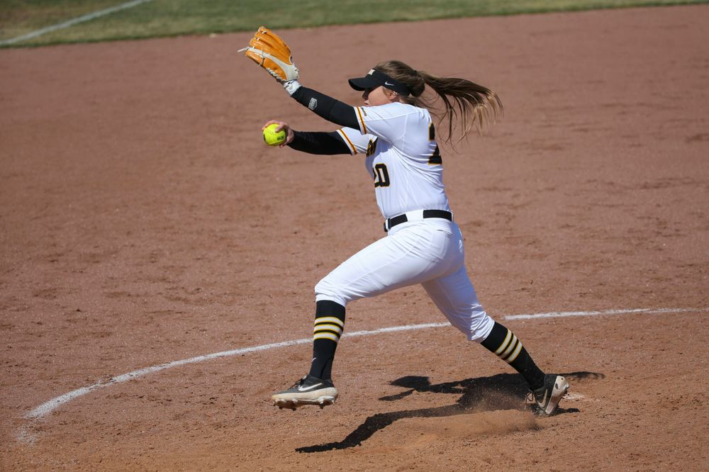 Iowa's Miranda Schulte (20) at game 3 vs Northwestern on Sunday, March 31, 2019 at Bob Pearl Field. (Lily Smith/hawkeyesports.com)
