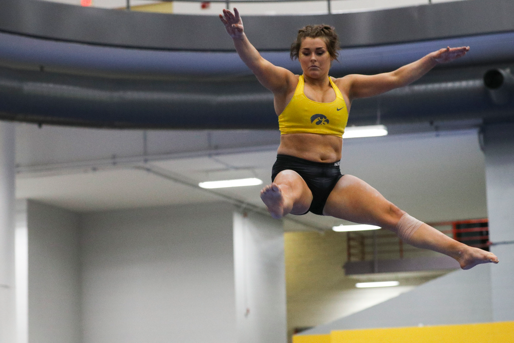 Erin Castle performs on the beam during the Iowa women's gymnastics Black and Gold Intraquad Meet on Saturday, December 7, 2019 at the UI Field House. (Lily Smith/hawkeyesports.com)