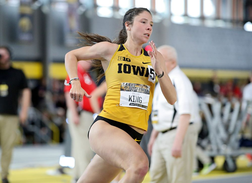 Iowa's Mallory King runs the women's 400 meter dash event during the Larry Wieczorek Invitational at the Recreation Building in Iowa City on Saturday, January 18, 2020. (Stephen Mally/hawkeyesports.com)