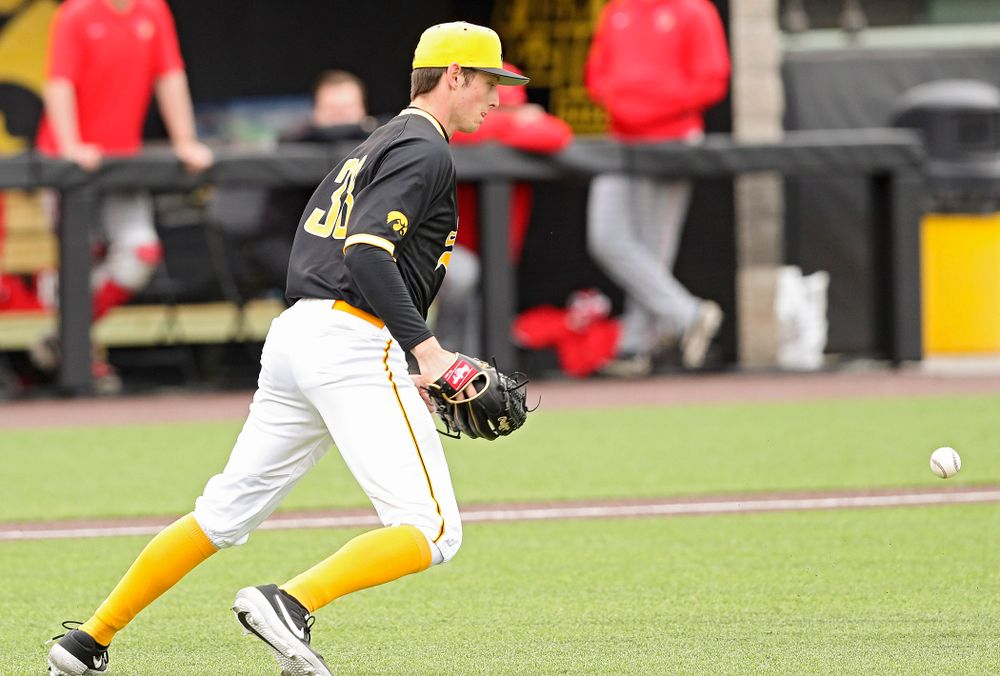 Iowa Hawkeyes pitcher Trenton Wallace (38) lets the ball drop in front of him before starting a double play during the third inning of their game against Illinois State at Duane Banks Field in Iowa City on Wednesday, Apr. 3, 2019. (Stephen Mally/hawkeyesports.com)