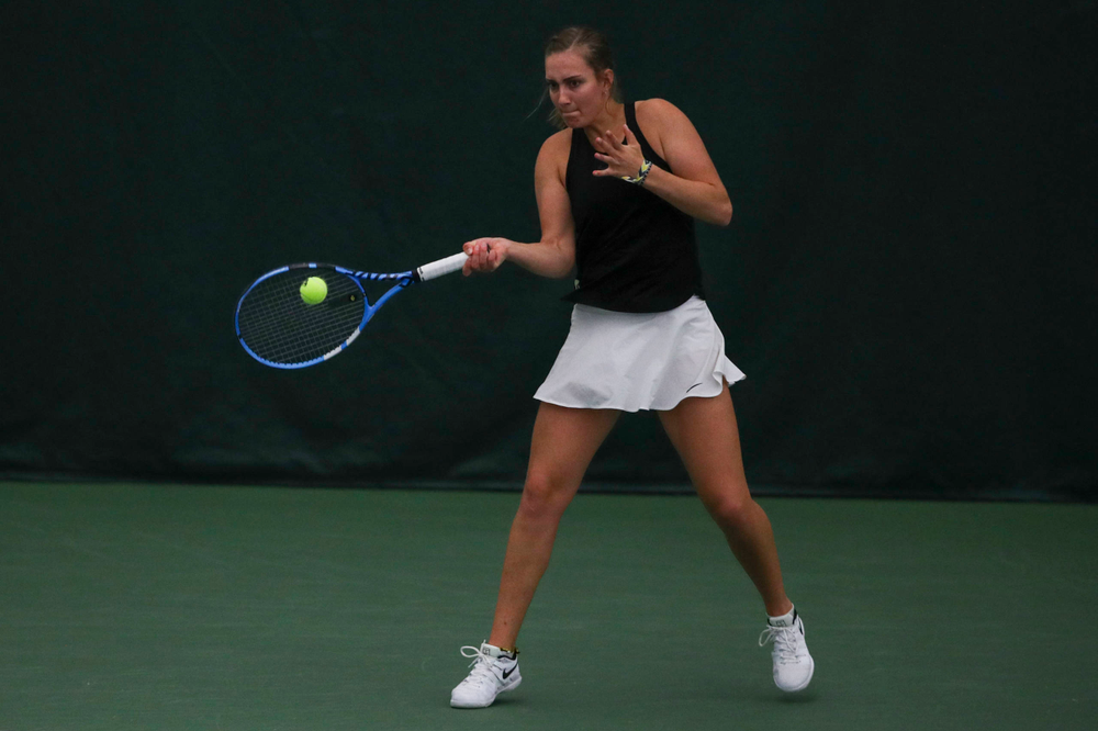 IowaÕs Ashleigh Jacobs at womenÕs tennis senior day vs Nebraska on Saturday, April 13, 2019 at the Hawkeye Tennis and Recreation Complex. (Lily Smith/hawkeyesports.com)