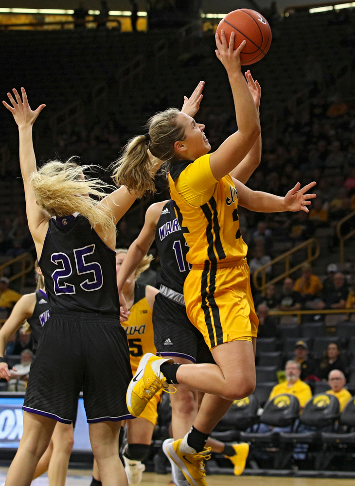 Iowa guard Kathleen Doyle (22) makes a basket during the second quarter of their game against Winona State at Carver-Hawkeye Arena in Iowa City on Sunday, Nov 3, 2019. (Stephen Mally/hawkeyesports.com)