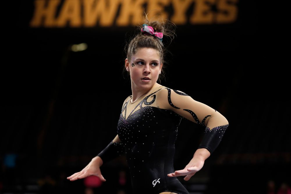 Iowa's Melissa Zurawski competes on the floor