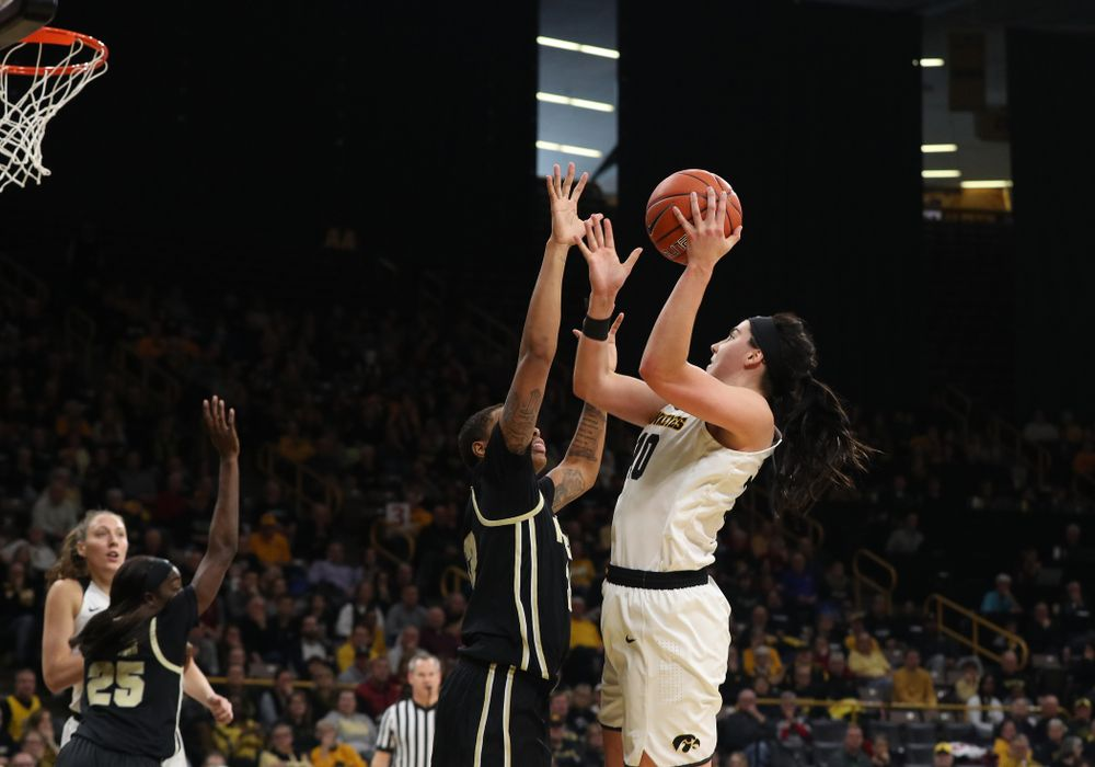 Iowa Hawkeyes forward Megan Gustafson (10) against the Purdue Boilermakers Sunday, January 27, 2019 at Carver-Hawkeye Arena. (Brian Ray/hawkeyesports.com)