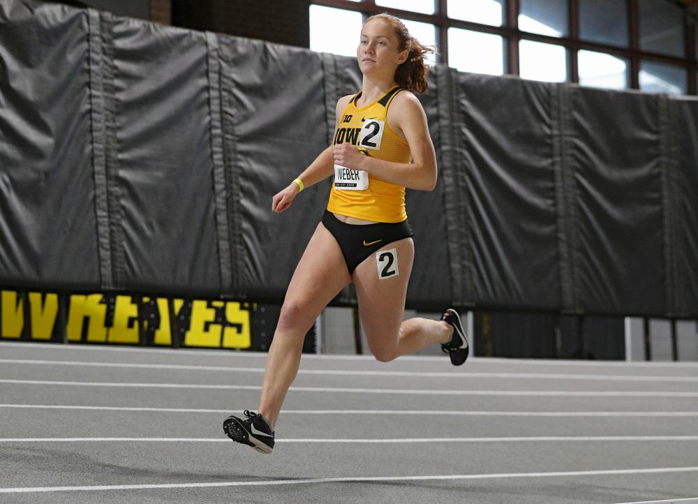 Iowa's Macie Weber runs the women's 1000 meter run event during the Hawkeye Invitational at the Recreation Building in Iowa City on Saturday, January 11, 2020. (Stephen Mally/hawkeyesports.com)