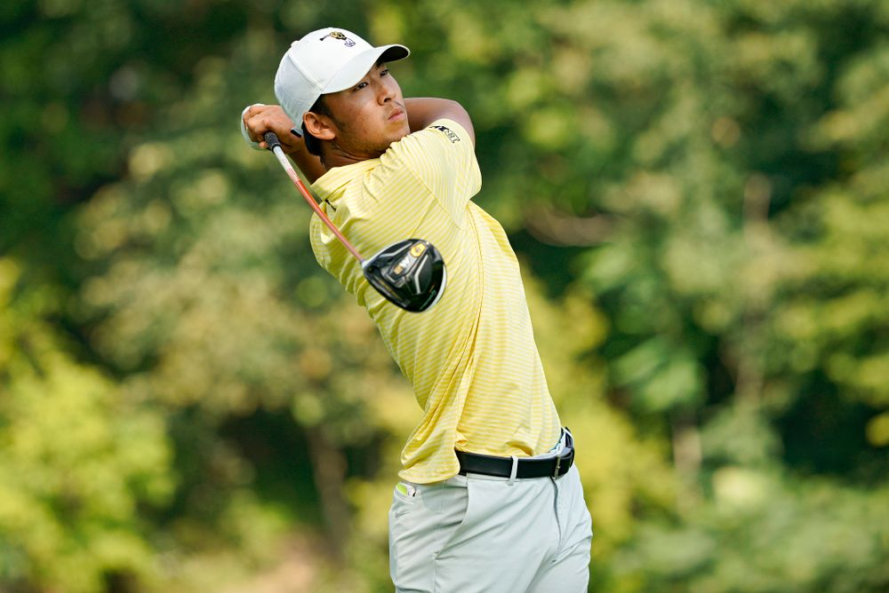 Iowa's Joe Kim tees off during the third day of the Golfweek Conference Challenge at the Cedar Rapids Country Club in Cedar Rapids on Tuesday, Sep 17, 2019. (Stephen Mally/hawkeyesports.com)