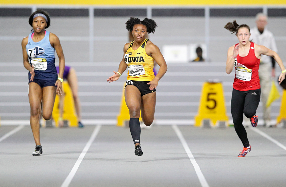 Iowa's Lasarah Hargrove runs in the women's 60 meter dash prelim event during the Hawkeye Invitational at the Recreation Building in Iowa City on Saturday, January 11, 2020. (Stephen Mally/hawkeyesports.com)