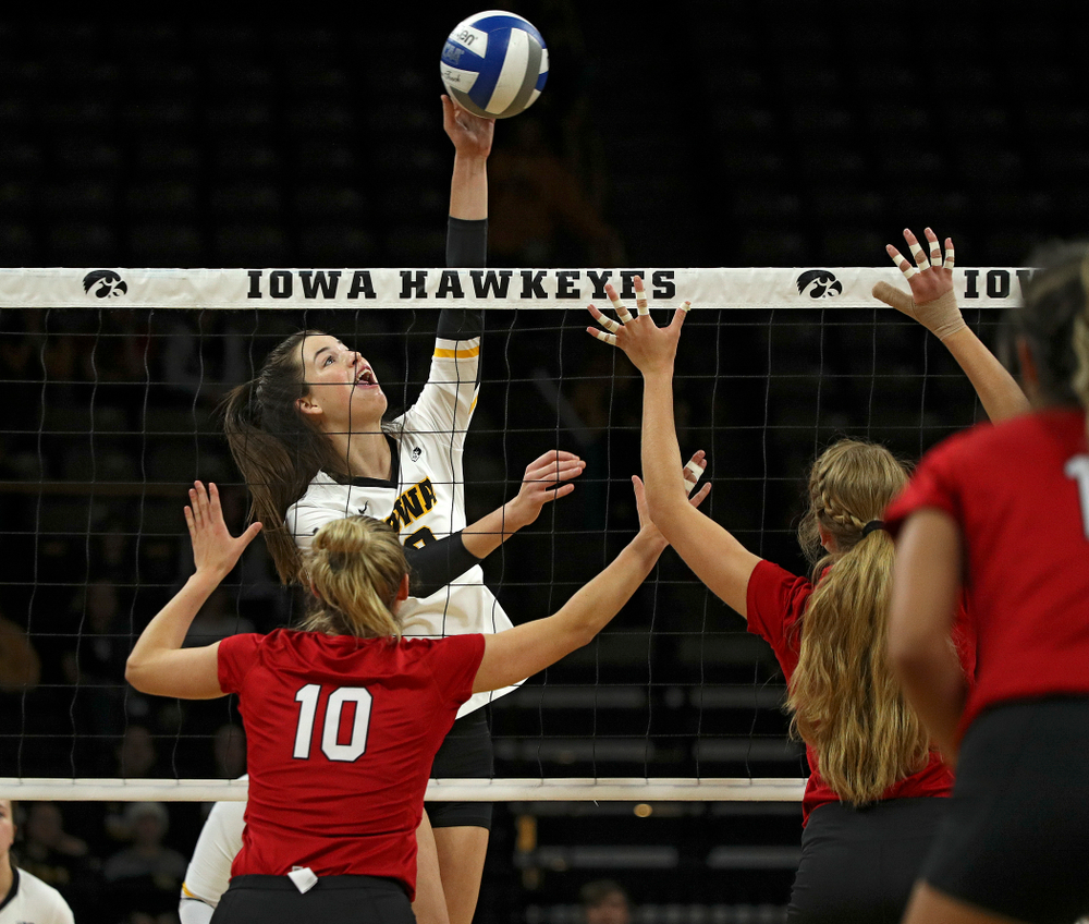 Iowa's Courtney Buzzerio (2) sends the ball over the net during the first set of their match against Nebraska at Carver-Hawkeye Arena in Iowa City on Saturday, Nov 9, 2019. (Stephen Mally/hawkeyesports.com)