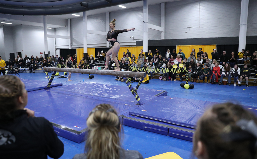 Sydney Hogan competes on the beam during the Black and Gold intrasquad meet Saturday, December 1, 2018 at the University of Iowa Field House. (Brian Ray/hawkeyesports.com)