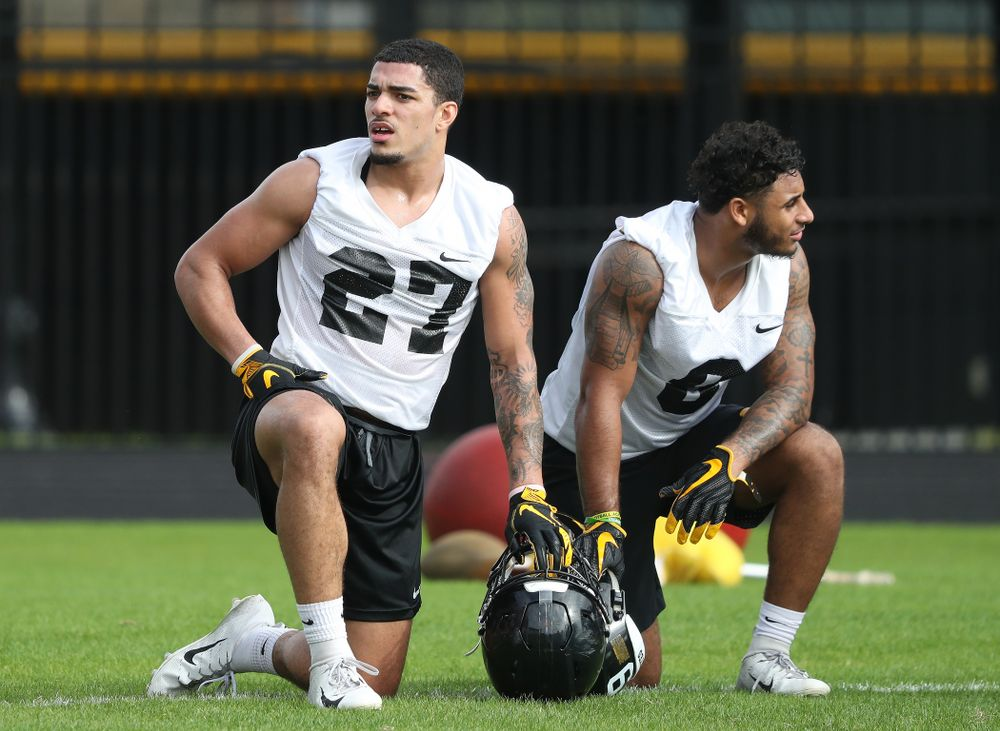 Iowa Hawkeyes defensive back Amani Hooker (27) and defensive back Geno Stone (9) during practice for the 2019 Outback Bowl Friday, December 28, 2018 at the University of Tampa. (Brian Ray/hawkeyesports.com)