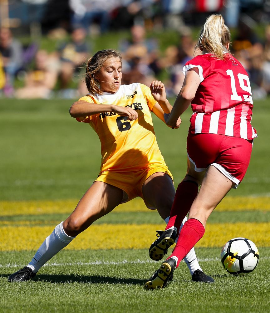 Iowa Hawkeyes midfielder Isabella Blackman (6) makes a tackle during a game against Indiana at the Iowa Soccer Complex on September 23, 2018. (Tork Mason/hawkeyesports.com)