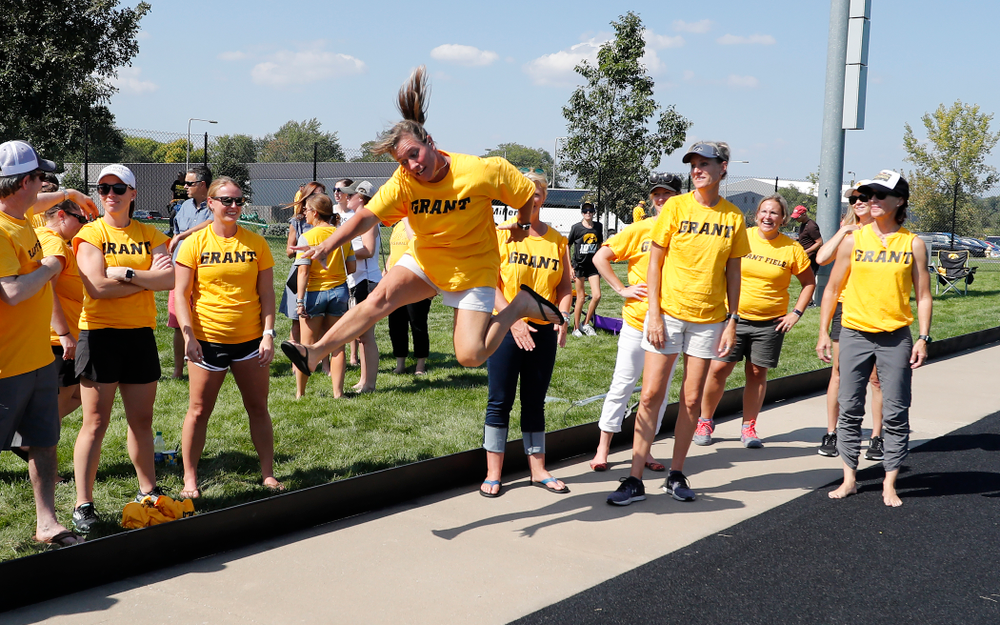 Former field hockey players celebrate following the Iowa Hawkeyes game against Indiana Sunday, September 16, 2018 at Grant Field. (Brian Ray/hawkeyesports.com)