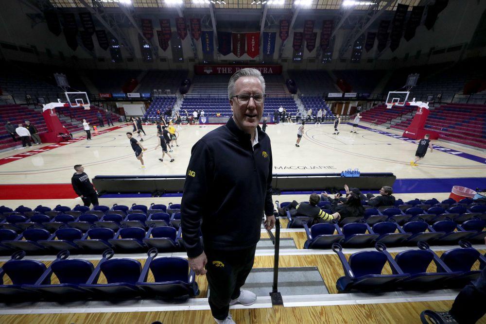 Iowa Hawkeyes head coach Fran McCaffery at the Palestra Friday, January 3, 2020 in Philadelphia. (Brian Ray/hawkeyesports.com)