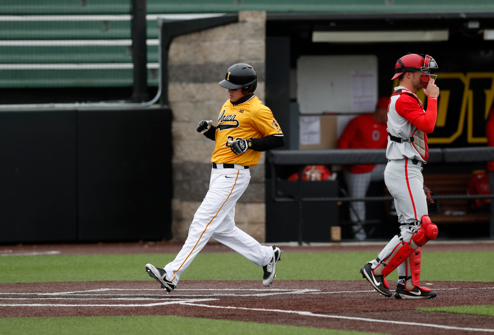 Iowa Hawkeyes catcher Austin Guzzo (20) against the Ohio State Buckeyes Sunday, April 8, 2018 at Duane Banks Field.(Brian Ray/hawkeyesports.com)