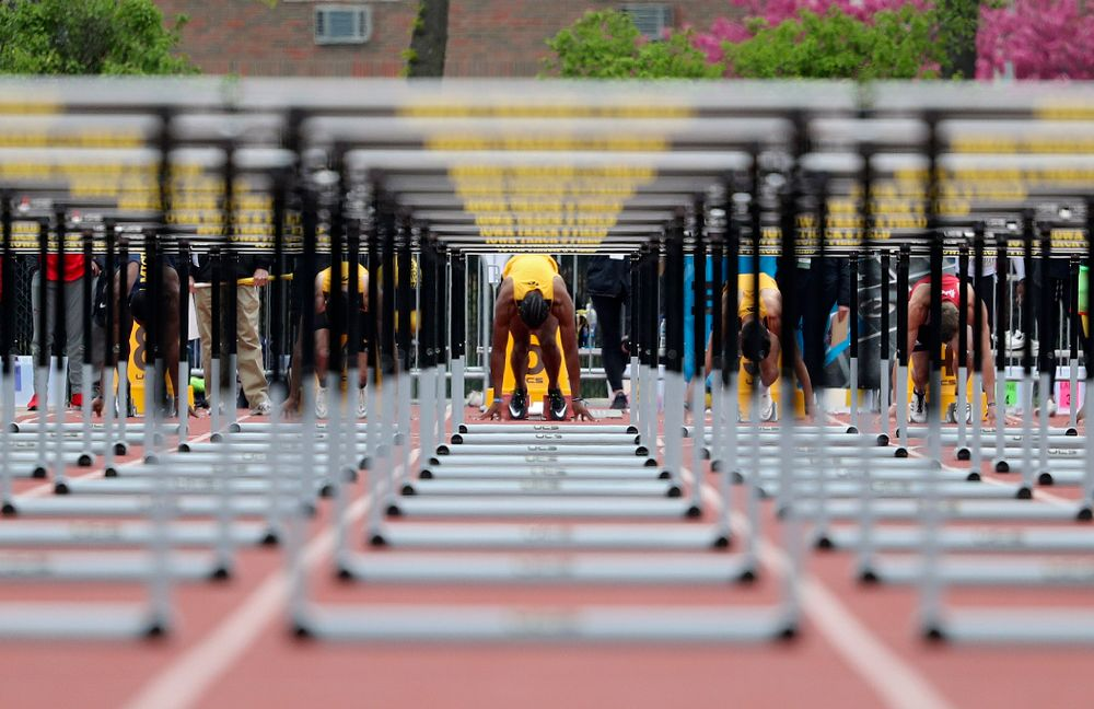 Iowa's Anthony Williams waits in the blocks for the start of the men's 110 meter hurdles event on the third day of the Big Ten Outdoor Track and Field Championships at Francis X. Cretzmeyer Track in Iowa City on Sunday, May. 12, 2019. (Stephen Mally/hawkeyesports.com)