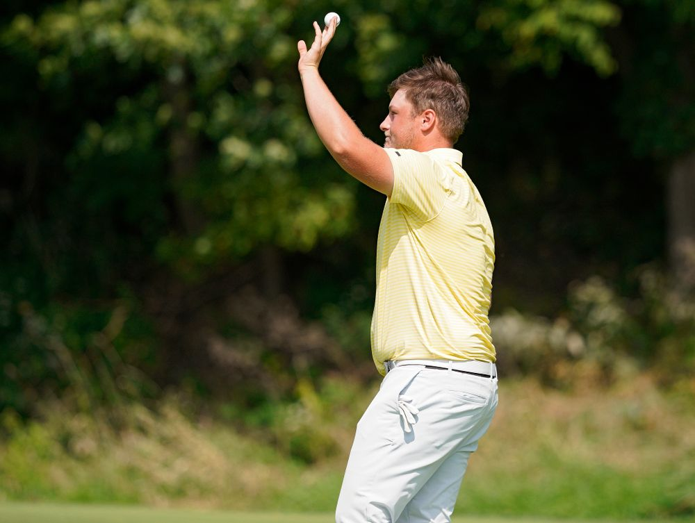 Iowa's Alex Schaake holds up his ball after making a putt during the third day of the Golfweek Conference Challenge at the Cedar Rapids Country Club in Cedar Rapids on Tuesday, Sep 17, 2019. (Stephen Mally/hawkeyesports.com)