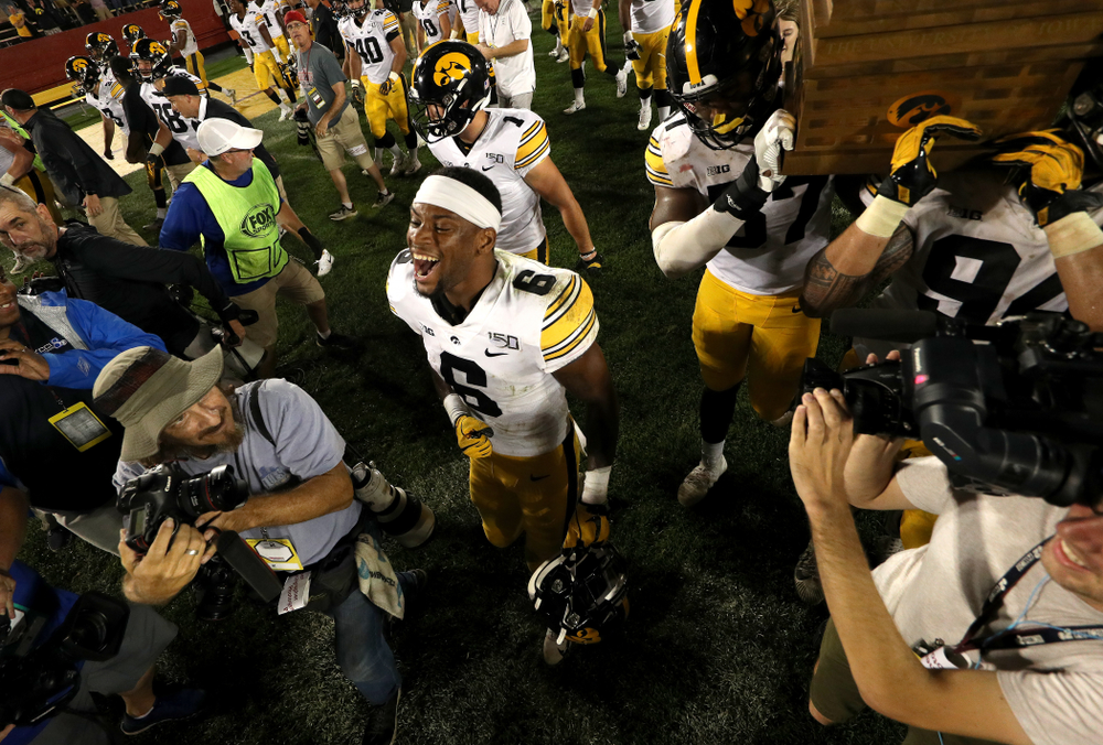 Iowa Hawkeyes wide receiver Ihmir Smith-Marsette (6) celebrates following their victory of the Iowa State Cyclones Saturday, September 14, 2019 in Ames, Iowa. (Brian Ray/hawkeyesports.com)