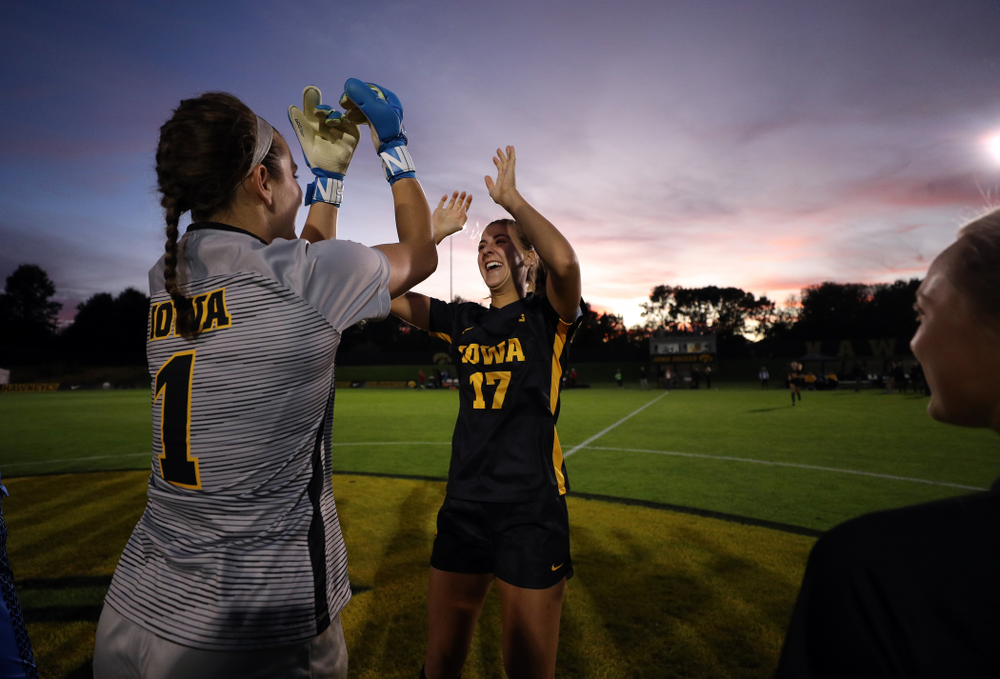 Iowa Hawkeyes goalkeeper Claire Graves (1) and defender Hannah Drkulec (17) against the Nebraska Cornhuskers Thursday, October 3, 2019 at the Iowa Soccer Complex. (Brian Ray/hawkeyesports.com)
