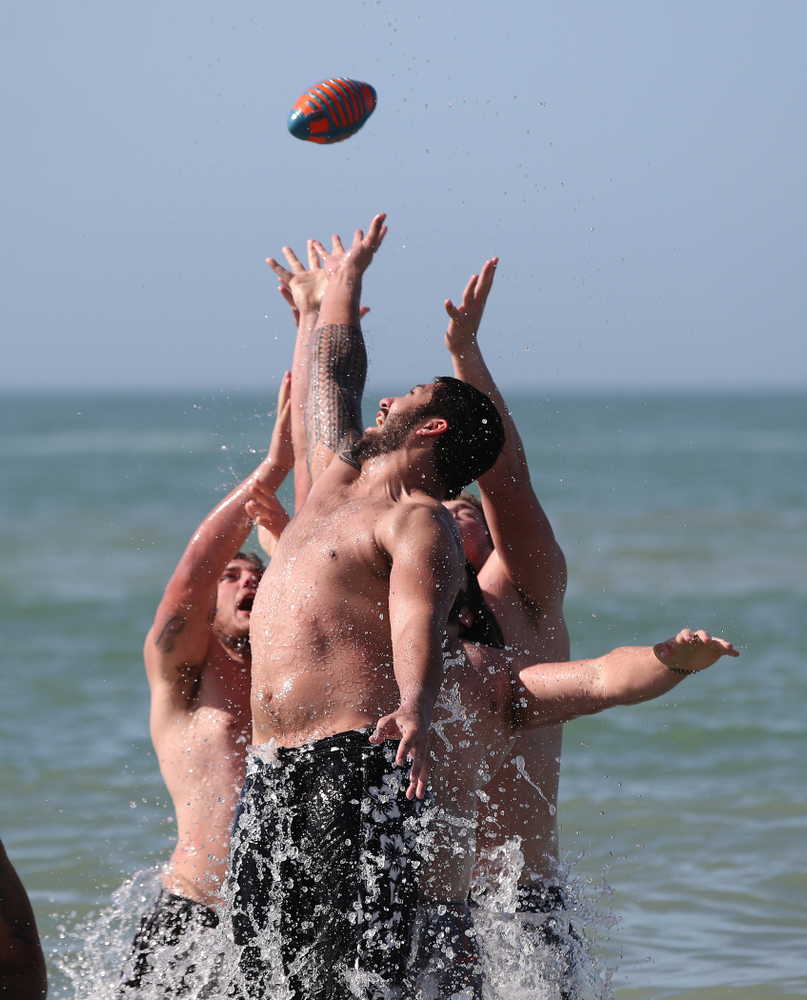 defensive end A.J. Epenesa (94) during the Outback Bowl Beach Day Sunday, December 30, 2018 at Clearwater Beach. (Brian Ray/hawkeyesports.com)
