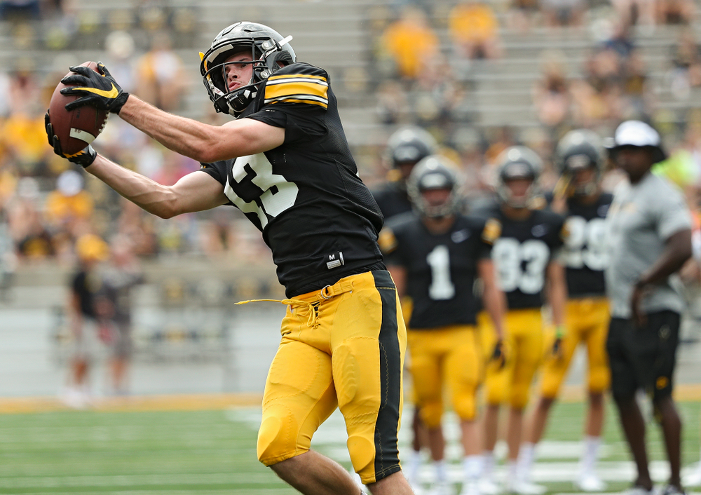 Iowa Hawkeyes wide receiver Henry Marchese (13) pulls in a pass during Fall Camp Practice No. 8 at Kids Day at Kinnick Stadium in Iowa City on Saturday, Aug 10, 2019. (Stephen Mally/hawkeyesports.com)