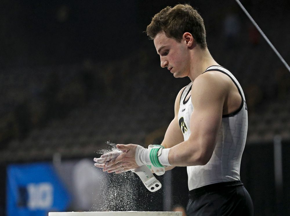 Iowa's Jake Brodarzon prepares for the rings during the second day of the Big Ten Men's Gymnastics Championships at Carver-Hawkeye Arena in Iowa City on Saturday, Apr. 6, 2019. (Stephen Mally/hawkeyesports.com)