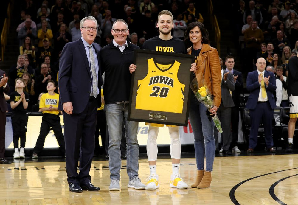 Iowa Hawkeyes forward Riley Till (20) and his family during senior night festivities before their game against the Purdue Boilermakers Tuesday, March 3, 2020 at Carver-Hawkeye Arena. (Brian Ray/hawkeyesports.com)