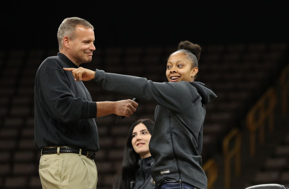 Iowa WomenÕs Basketball radio announcer Rob Books and guard Tania Davis (11) during the teamÕs Celebr-Eight event Wednesday, April 24, 2019 at Carver-Hawkeye Arena. (Brian Ray/hawkeyesports.com)