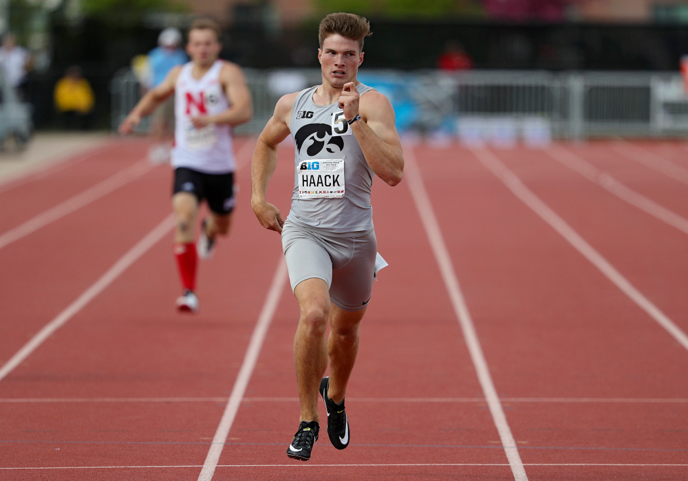 Iowa's Peyton Haack run the 400 meter dash in the decathlon event on the first day of the Big Ten Outdoor Track and Field Championships at Francis X. Cretzmeyer Track in Iowa City on Friday, May. 10, 2019. (Stephen Mally/hawkeyesports.com)