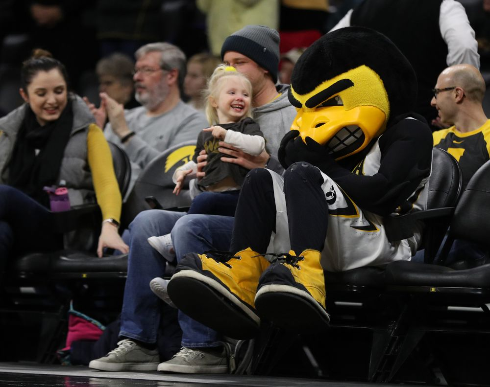 Herky The Hawk against the Michigan Wolverines Thursday, January 17, 2019 at Carver-Hawkeye Arena. (Brian Ray/hawkeyesports.com)